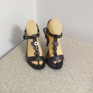 Coach Black Signature Strappy Sandals